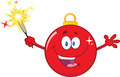 Happy Red Christmas Ball Cartoon Character Holding A Sparkler - PhotoDune Item for Sale