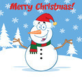 Happy Snowman Cartoon Character With Open Arms Under Merry Christmas Text - PhotoDune Item for Sale