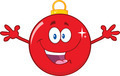 Happy Red Christmas Ball Cartoon Mascot Character With Open Arms  - PhotoDune Item for Sale