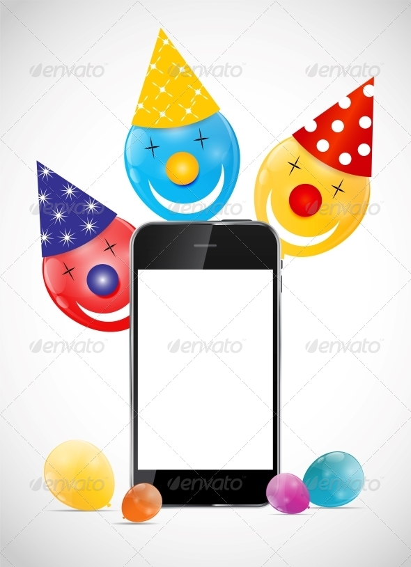 GraphicRiver Color Glossy Balloons with Mobile Phone Vector Ill 6353907