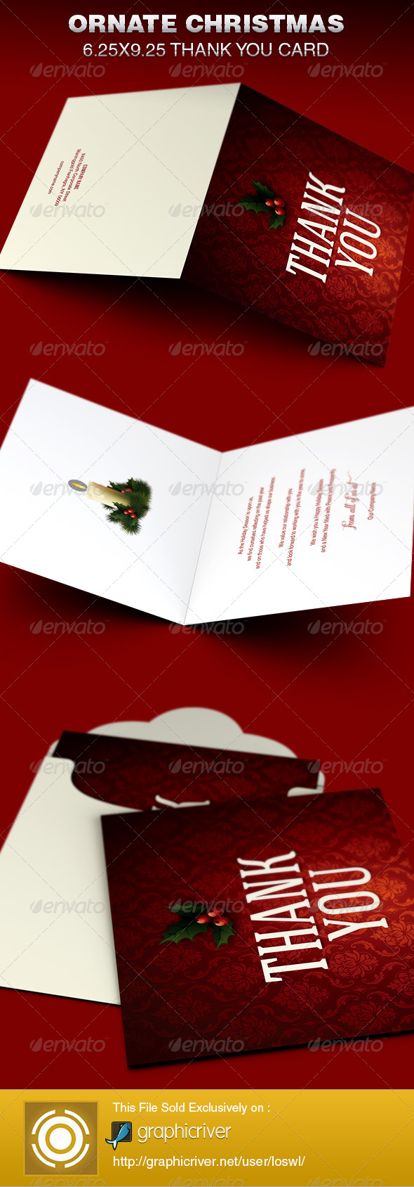 GraphicRiver Ornate Christmas Thank You Card Template 6353945