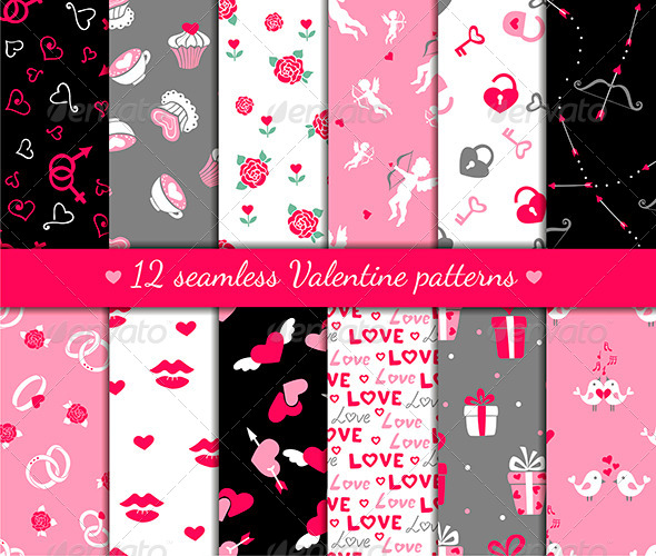 GraphicRiver Twelve Valentines Seamless Patterns 6355792