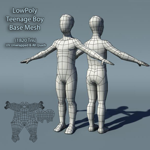 Low Poly Teenage Boy Base Mesh - 3DOcean Item for Sale