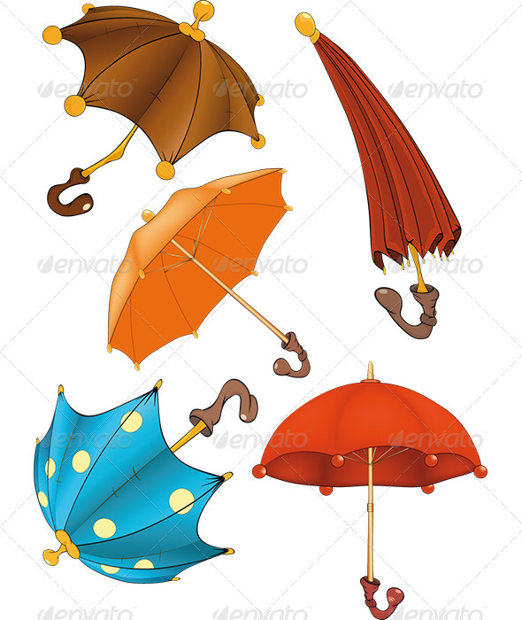 GraphicRiver Umbrellas Clip Art Cartoon 6355962