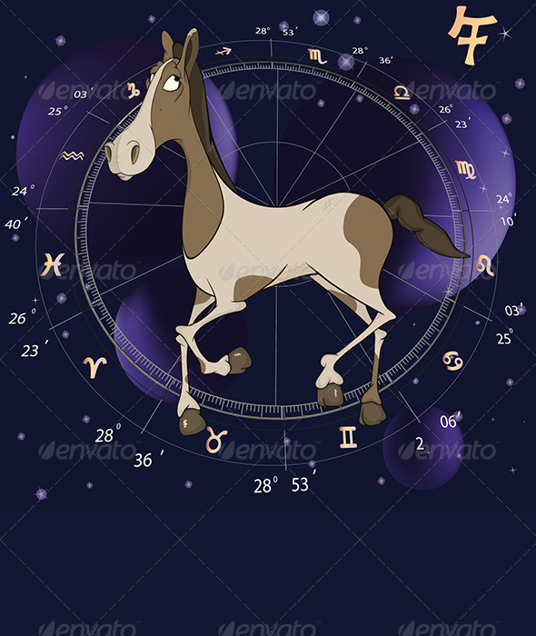 GraphicRiver Year of a Horse Cartoon Chinese Horoscope 6356012