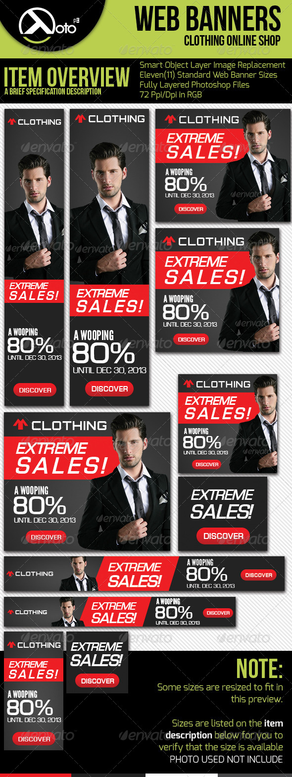 Clothing Extreme Sale Web Banners - Banners & Ads Web Elements
