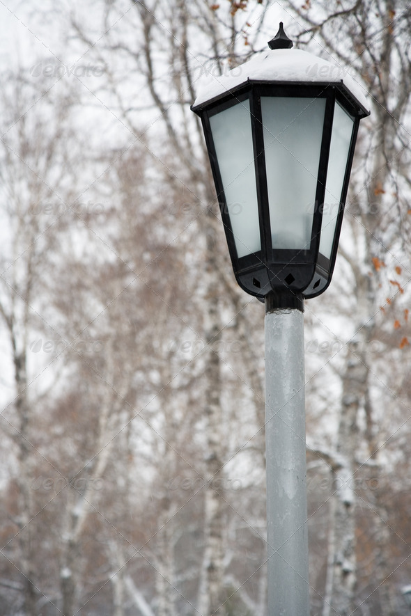 After snowstorm. Street lamp - Stock Photo - Images