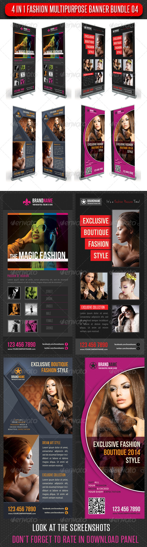 GraphicRiver 4 in 1 Fashion Multipurpose Banner Bundle 04 6358858