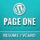 Page One - Responsive Vcard CV Resume WP Theme
