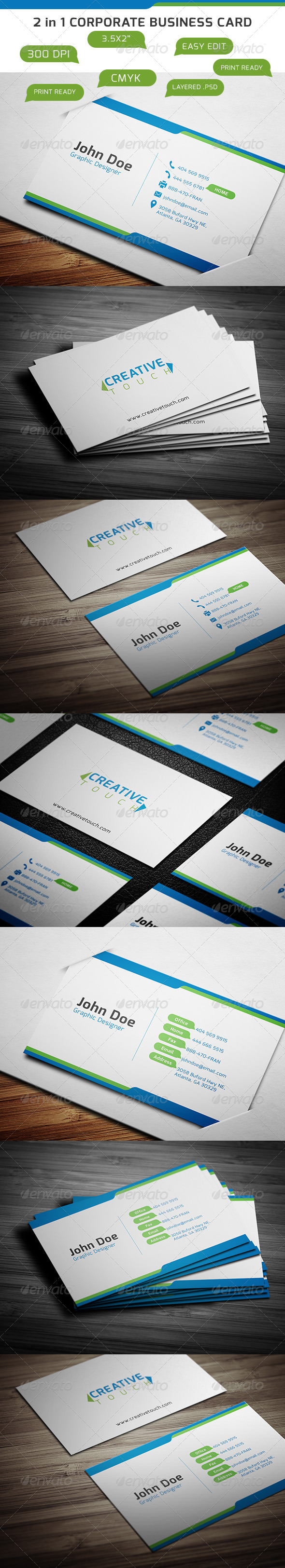 GraphicRiver 2 in 1 Corporate Business Card 6347030