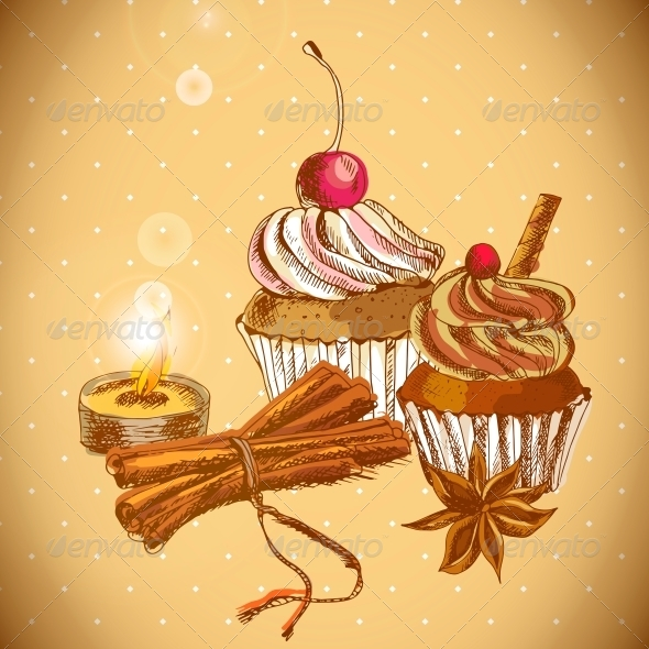 GraphicRiver Vintage Background with Cupcake and Cinnamon 6363748