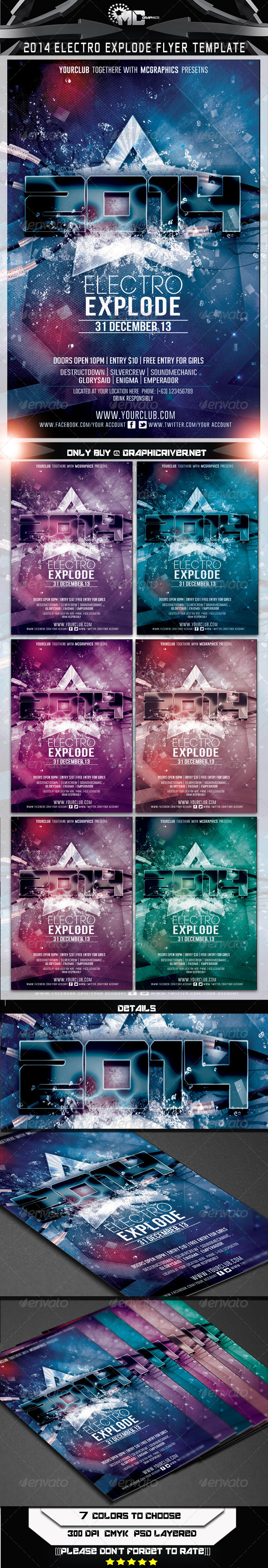 GraphicRiver 2014 Electro Explode Flyer Template 6364472
