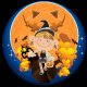 Smiling Halloween Girl with Pumpkin and Candy - GraphicRiver Item for Sale