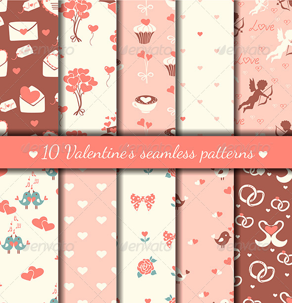 GraphicRiver Valentine s Seamless Patterns 6365740