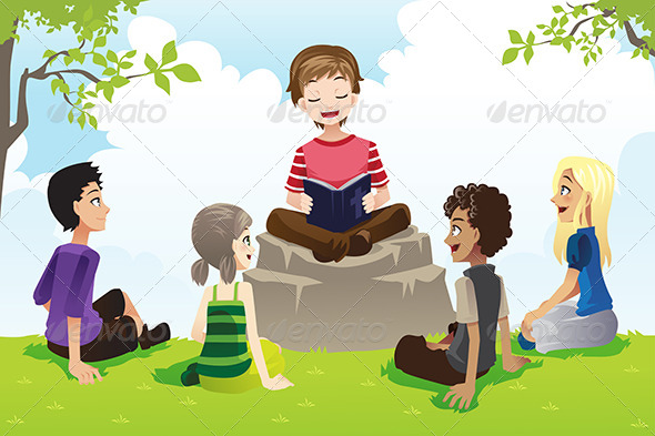 GraphicRiver Kids Studying Bible 6365778