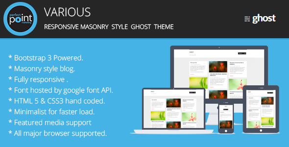 Various - Responsive masonary style ghost theme - Ghost Themes Blogging