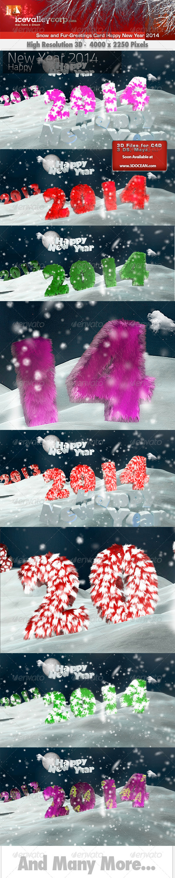 GraphicRiver Snow and Fur-Greetings Card Happy New Year 2014 6366773
