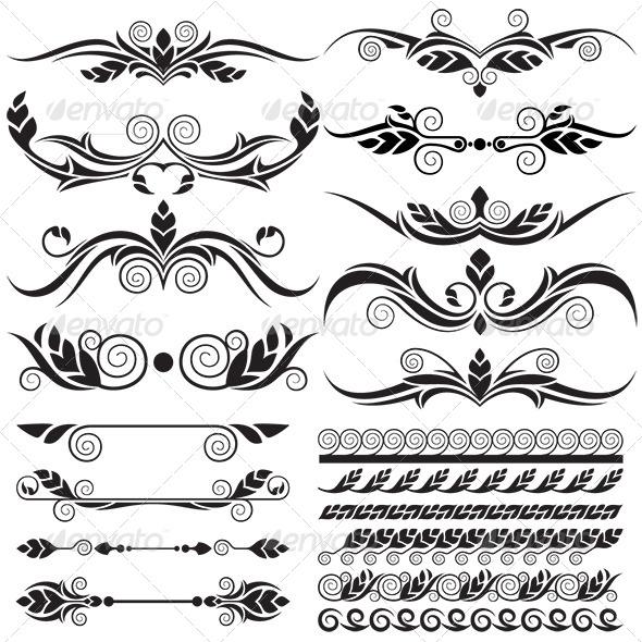 GraphicRiver Floral Design Elements Set 6366790