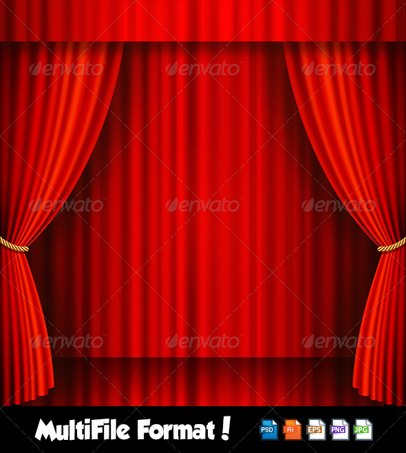 GraphicRiver Red Velvet Vector Theater Stage 6368561