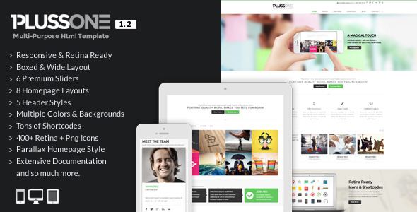 PlussOne - Responsive Multi-Purpose Html5 Template