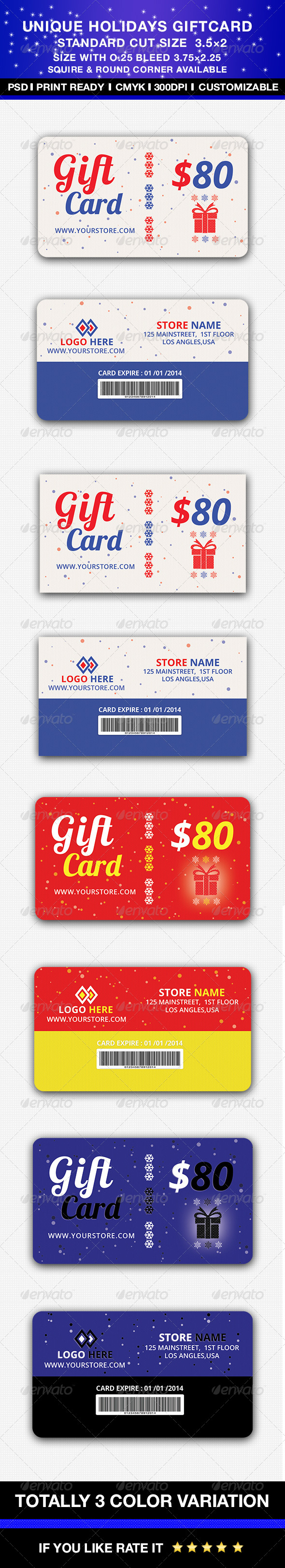 GraphicRiver Unique Holidays Gift card 6342068
