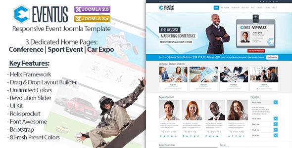 ThemeForest Eventus Responsive Event Joomla Template 6369836
