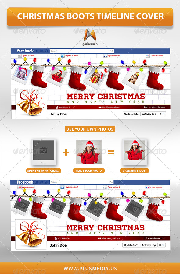 GraphicRiver Christmas Boots TimeLine Cover 6370496