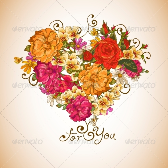 GraphicRiver Valentine Floral Heart 6370522