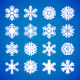 Set of White Snowflakes on Blue - GraphicRiver Item for Sale