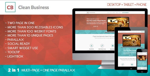 Clean Business Muse Template - Corporate Muse Templates