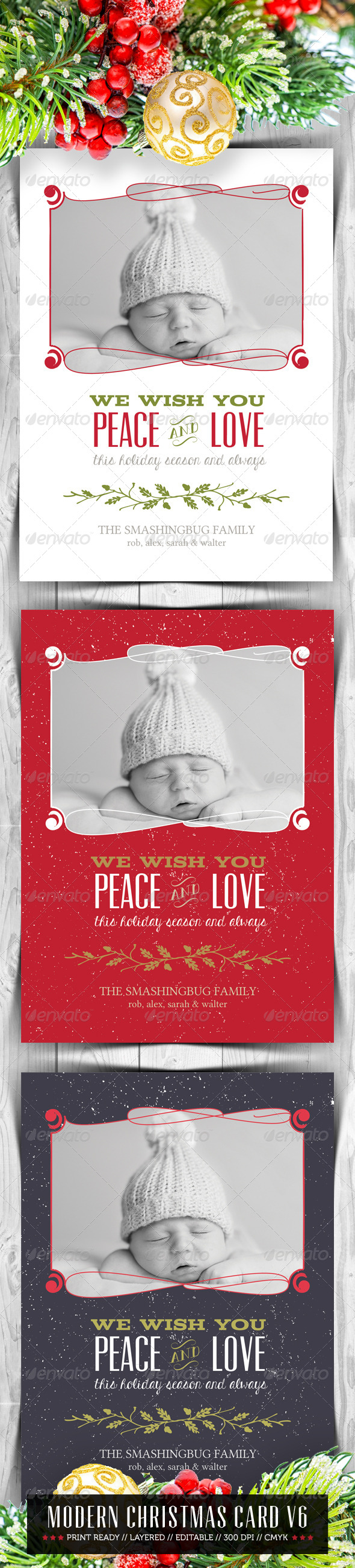 Modern Christmas Card V6 - Holiday Greeting Cards