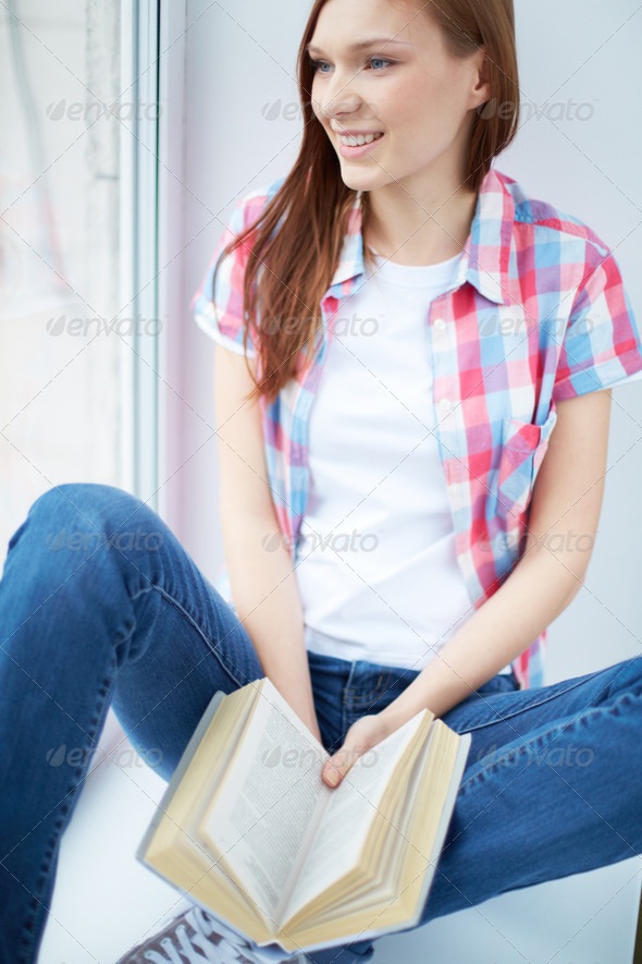 Teenager with book - Stock Photo - Images