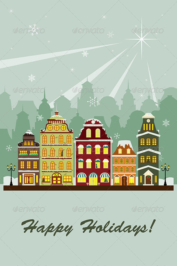 GraphicRiver Winter Village Greeting Card 6375006
