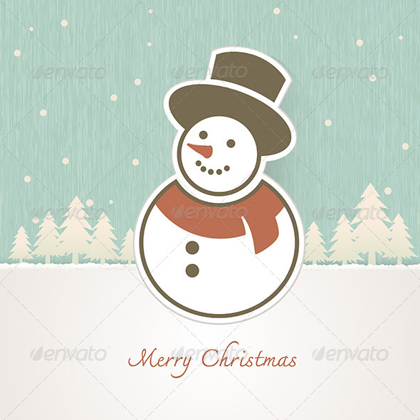 GraphicRiver Christmas Snowman with Trees Covered in Snow 6375203