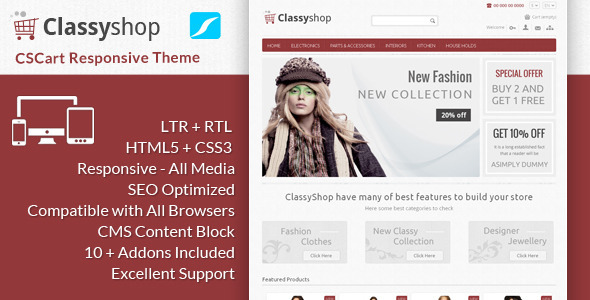 ThemeForest ClassyShop CS Cart Responsive Theme 6377607