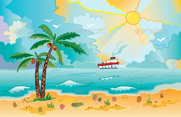 GraphicRiver Sunny Beach with Palms and Shells 6378477
