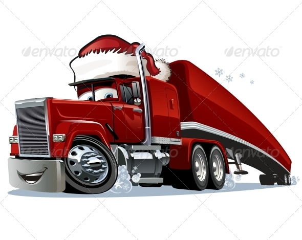 GraphicRiver Cartoon Christmas Truck 6379005