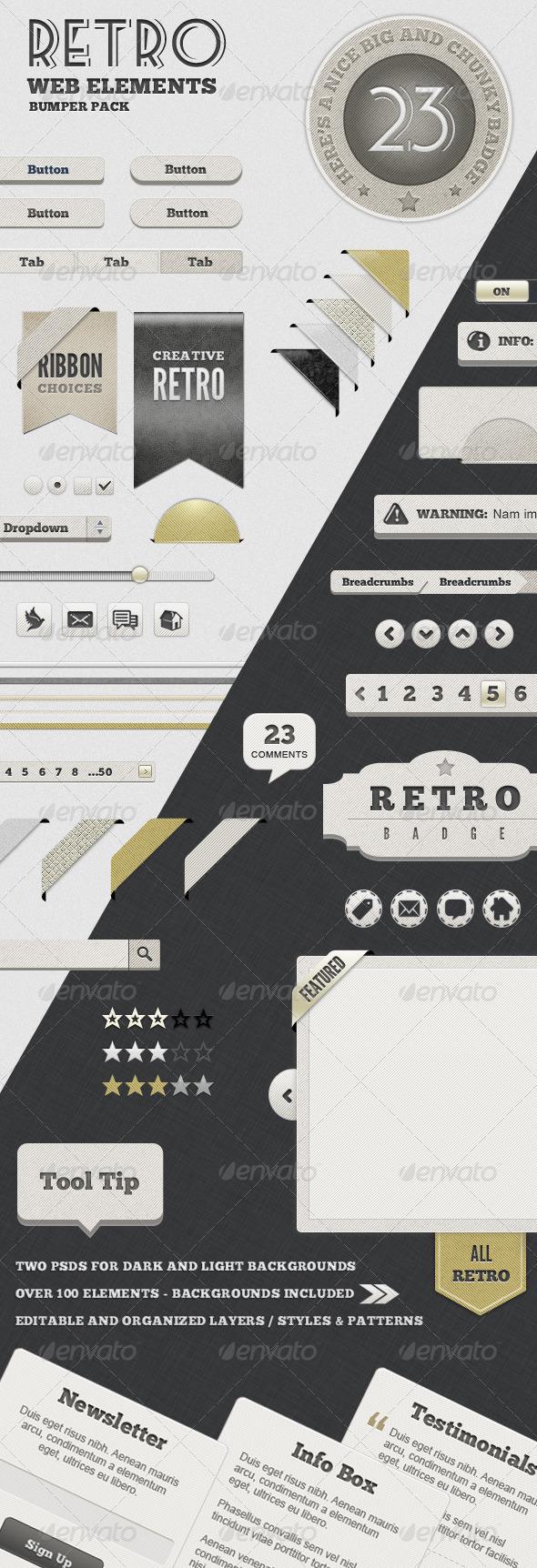 GraphicRiver Retro Web Elements Bumper Pack 665720