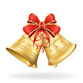 Christmas bells with red bow on white background. Xmas decoratio - PhotoDune Item for Sale