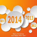 Modern New Year greeting card with paper circles on orange backg - PhotoDune Item for Sale
