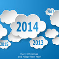 Modern New Year greeting card with paper clouds on blue backgrou - PhotoDune Item for Sale