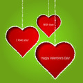 Abstract red hearts on green paper background. Valentines day gr - PhotoDune Item for Sale