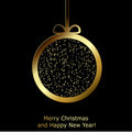 Modern Xmas greeting card with golden paper Christmas ball - PhotoDune Item for Sale