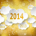 Modern New Year greeting card with paper clouds on golden backgr - PhotoDune Item for Sale