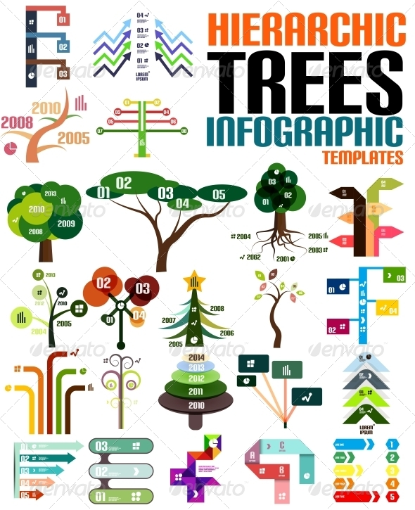 GraphicRiver Hierarchic Tree Infographic Templates Set 6380393