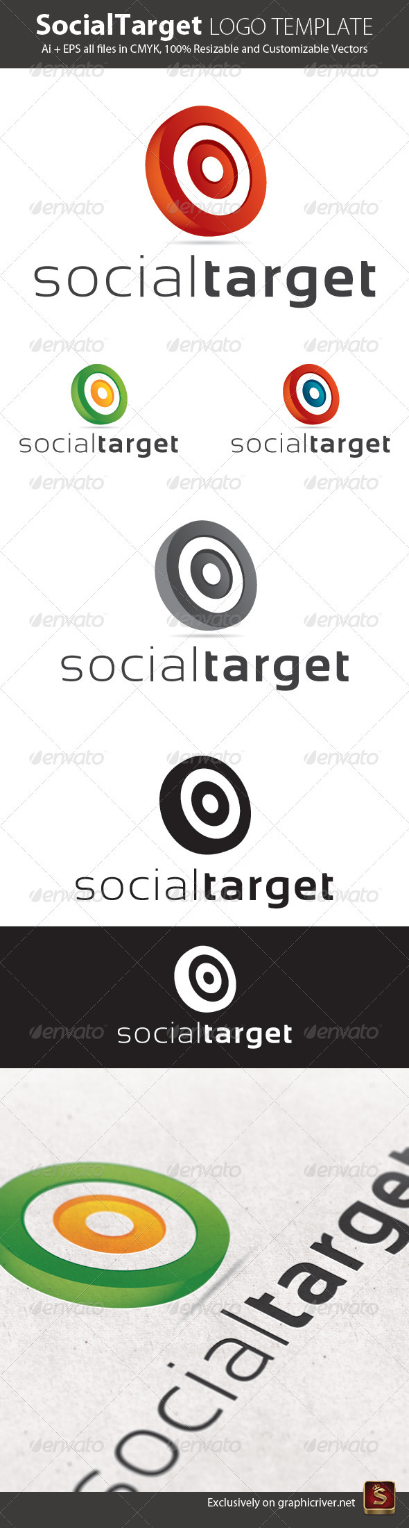 Social Target Logo Template - Vector Abstract