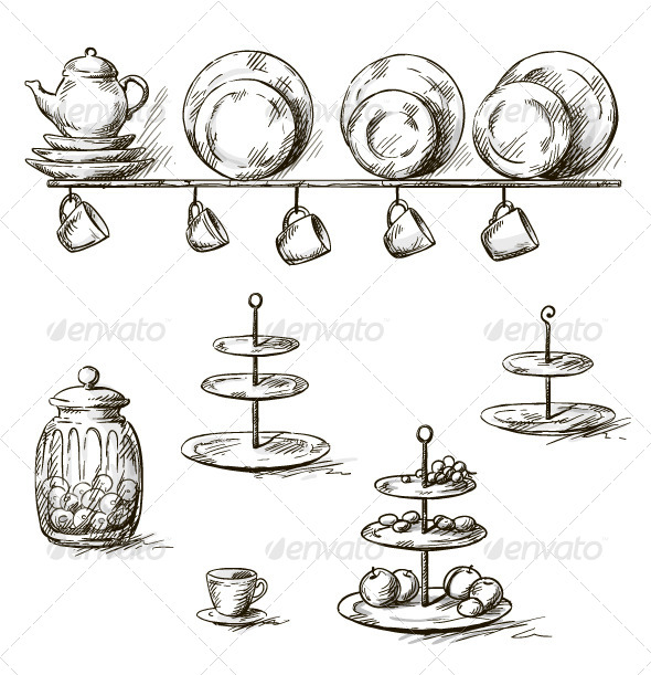 GraphicRiver Hand Drawn Illustration of Kitchen Utensils 6382610