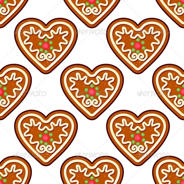GraphicRiver Gingerbread Hearts Seamless Pattern Background 6383205