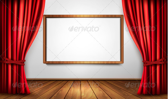 GraphicRiver Background with Red Curtain and a Wooden Floor 6383854