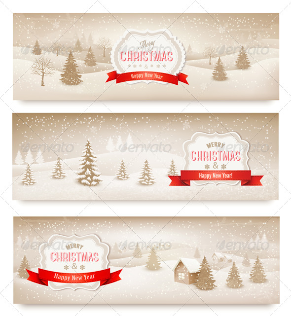 GraphicRiver Three Christmas Holiday Landscape Banners 6383904